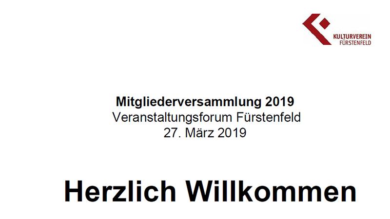 Bericht zur Mitgliederversammlung 2019 Kulturverein Fürstenfeld